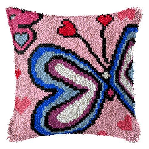 16.9X16.9 Pulgadas Inacabada Hilo De Bordar Set Almohada Latch Hook Cojín Kits del Regalo DIY De La Costura Crochet Almohadilla De Tiro del Corazón De La Mariposa,A