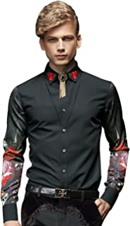 FANZHUAN Flower Shirt Men Dress Slim Fit Embroidery Fashion Long Sleeve Black
