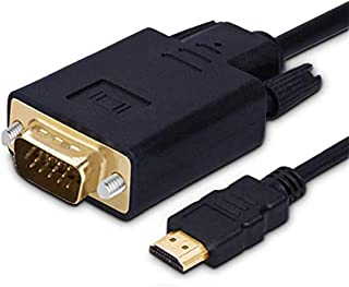 HDMI zu VGA Konverter Kabel, 1.8m/6ft Vergoldete HDMI auf VGA Kabel 1080P Kompatibel für Computer, Desktop, Laptop, PC, Monitor, Projektor