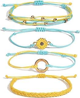 FANCY SHINY Sunflower String Bracelet Handmade Braided Rope Bracelets Adjustable Charms Boho Surfer Bracelet for Teen Girl...