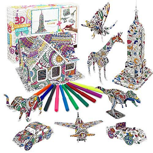Bylark Juego de Rompecabezas para Colorear 3D, Arte para Colorear Pintura 3D Puzzle para Niños Niñas de 3 a 13 Años Artístico Juego de Rompecabezas para Niños de 5 a 10 Años Rompecabezas en 3D