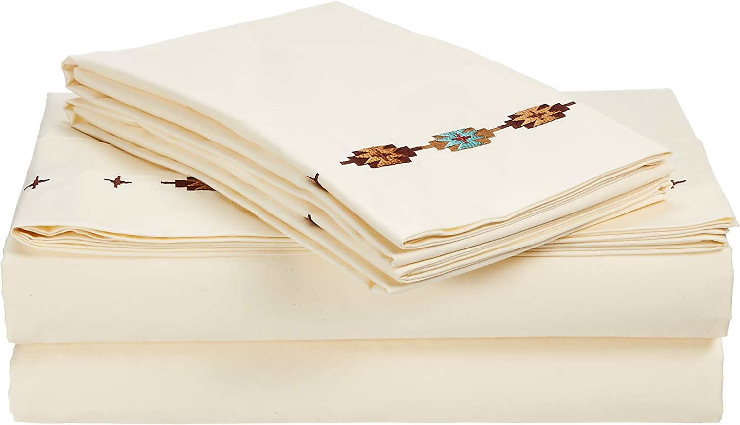 HiEnd Accents Embroidered Navajo Sheet Set, King, Cream