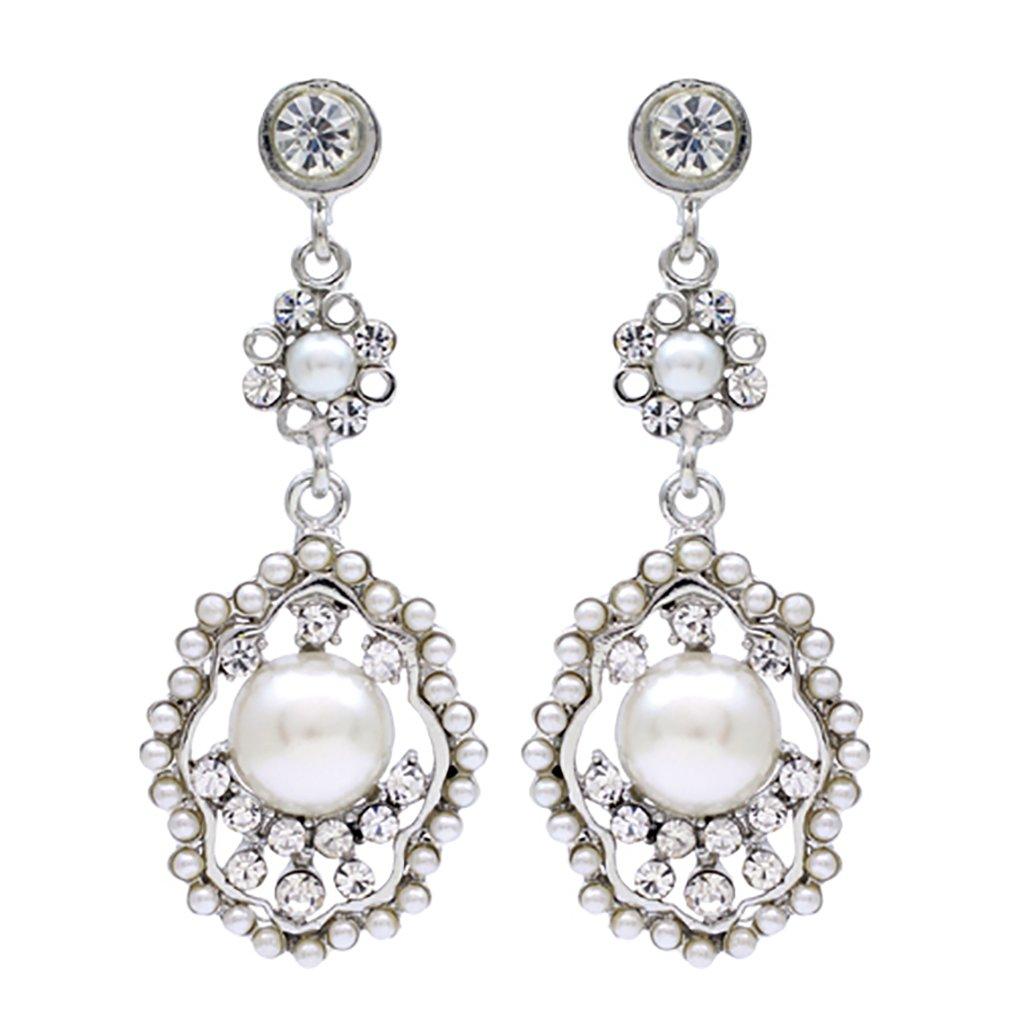ACCESSORIESFOREVER Bridal Wedding Jewelry Crystal Rhinestone Pearl Vintage Dangle Earrings Ivory