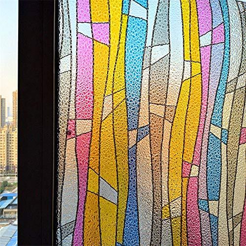KUNHAN raamfolie raamsticker 60 * 300 cm (23,6 * 118,1 inch) dikker lijmvrij 3D gekleurde streep raamfolie statische tinten mat decoratieve privacystickers