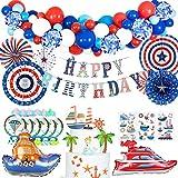 MMTX Cumpleaños Decoraciones Fiesta de Niño Azul Rojo Blanco Globos Set de Suministros para Fiestas Náutico Decoración Cupcake Toppers Abanicos de Papel Tatuaje para Baby Shower Favores de Fiesta
