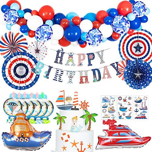 MMTX Geburtstagsdeko Jungen Deko Blau Rot Weiß Partyzubehör Set Nautische Seemann Dekoration Cupcake Schiff Luftballons Papierfächer Blowouts Tattoo Babydusche Gefälligkeiten für Kinderpartys