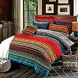 Loussiesd Juego de ropa de cama bohemio con cremallera, estilo étnico, mandala, flores, funda nórdica boho exótico, funda de almohada para mujer, 155 x 220 cm + 80 x 80 cm