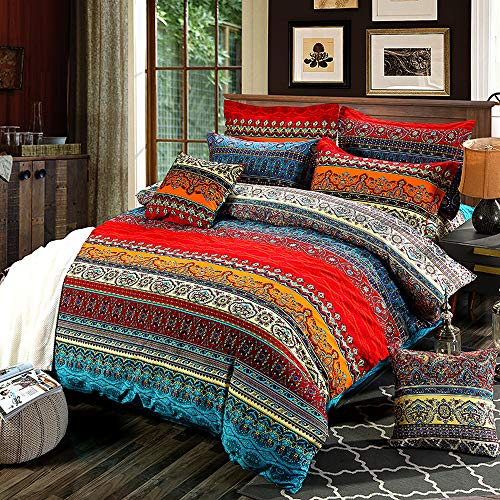 Loussiesd Bohemian Duvet Cover Set Boho Exotic Style Bedding Set King Size Fade Resistant Bedspread Microfiber Polyester Bedding Cover Set 3 Pieces Comforter Cover with 2 Pillow Shams Zipper
