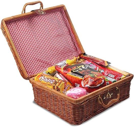 SNKTBWANGCY Bamboo Picnic Basket Storage Fruit Basket Mini conteneur de Stockage de paniers de Nourriture pour Les paniers de rougein en Plein air Travel Suitcase