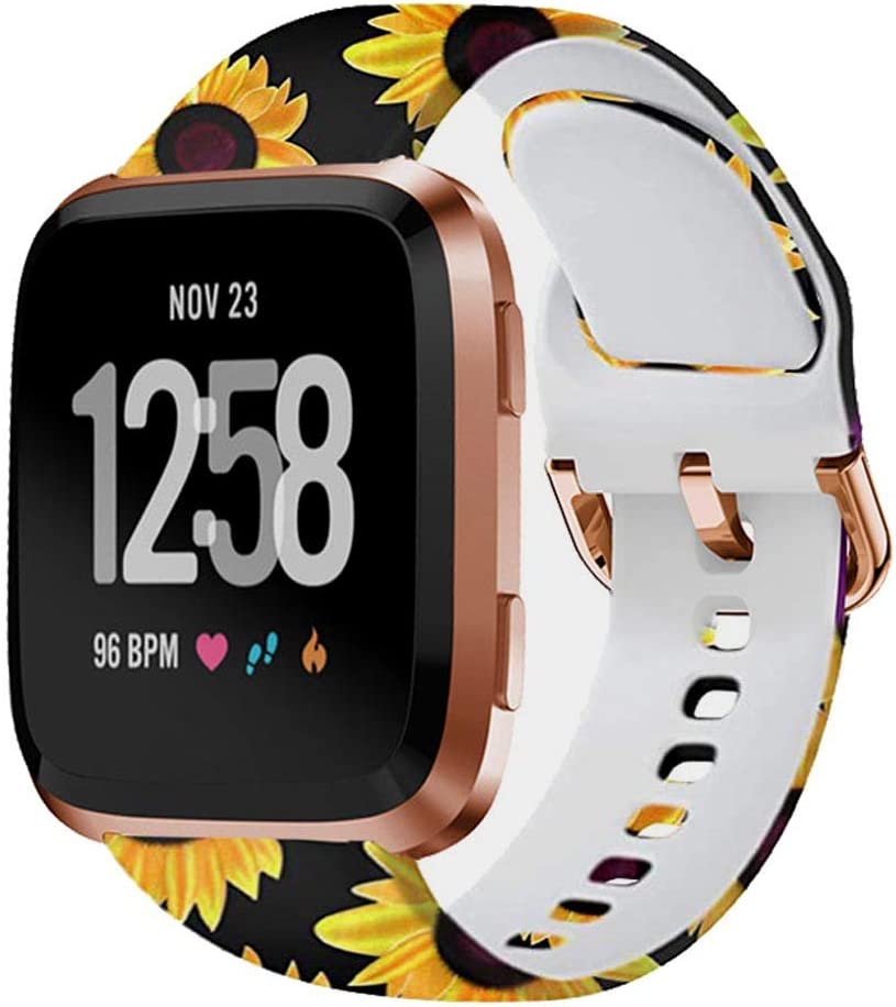 BATINY Band Compatible with Fitbit Versa/Versa 2/Lite/SE Bands for Women Men Silicone Floral Printed Pattern Fadeless Replacement Strap (Sunflower&Jellyfish, OneSize:5.8