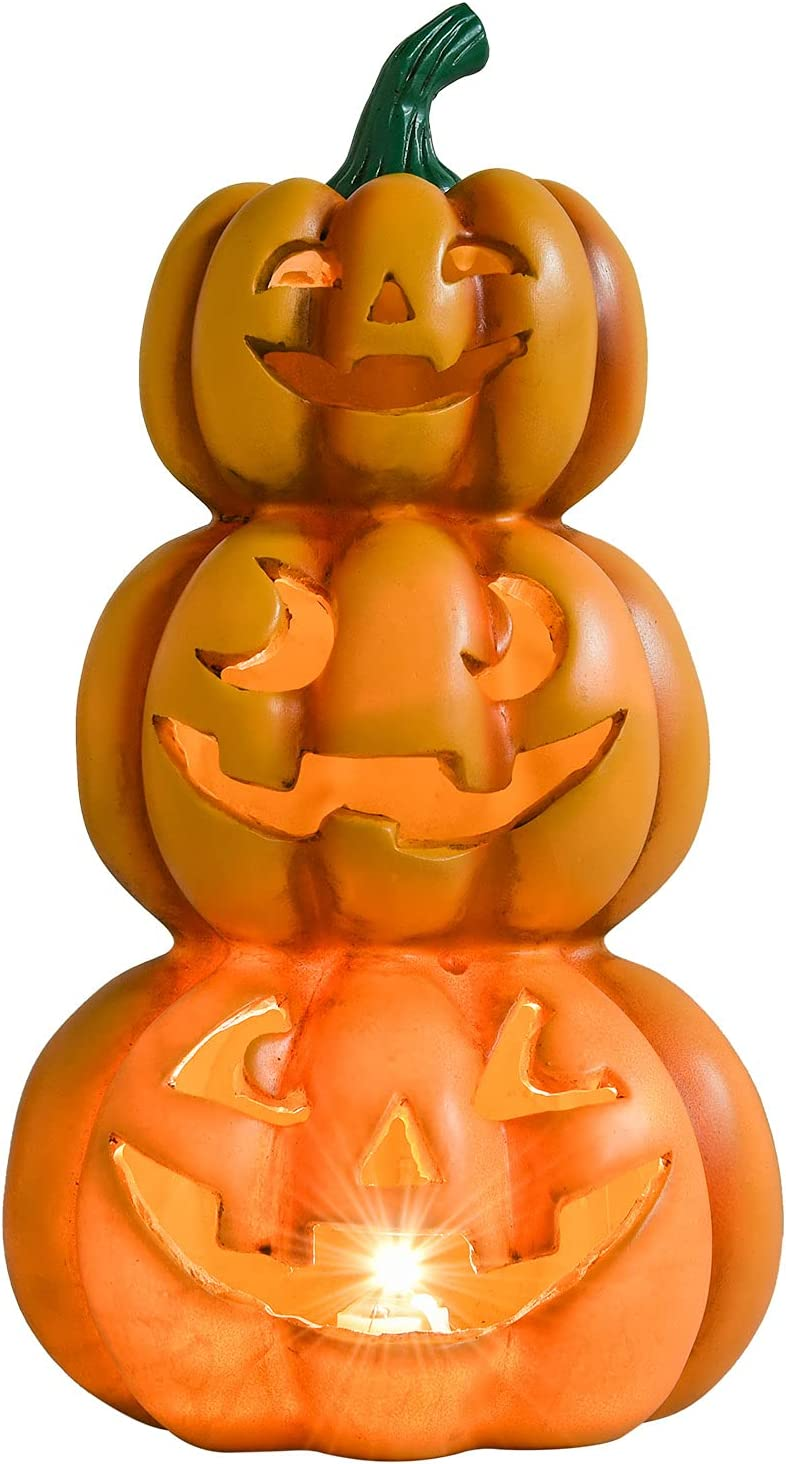 Lvydec Halloween Pumpkin Lights Decorations, Pre-Lit Jack-o-Lantern Halloween Pumpkins Figurine with Built-in Warm White Lights for Holiday Party Haunted House Home Decor