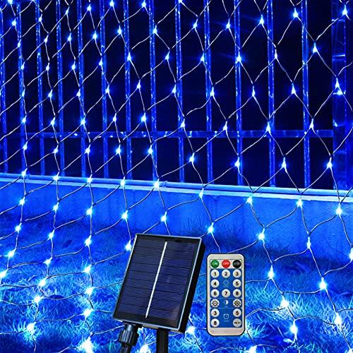 Ezzfairy 3 m x 2 m Solar-Lichterkette, wasserdicht, 8 Modi, 208 LEDs, für den Außenbereich, blinkendes blaues Netz, Lichterkette für Bürsten, Garten, Baum, Hof, Zaun, Terrasse, Deck, Außenwand, blau