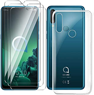 HYMY fodral + 3X skärmskydd för Alcatel 3X 2019 Smartphone - Transparent TPU Mjuk Silikon Protection Gel Fashion Skin back...