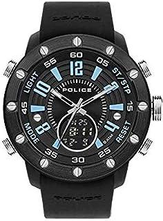 ساعة باتور للرجال من بوليس وانالوج بعقارب كوارتز مع مينا اسود وسوار سيليكون اسود - PL.16015JPBB-02P