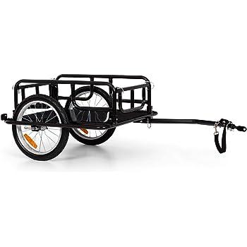 Klarfit OX - Fahrradanhänger Lastenanhänger, Ladefläche: 42 x 65 cm (BxT) / ca. 65 Liter / 2 Getränkekästen, 40 kg Ladegewicht, pulverbeschichteter Stahlrahmen, schwarz