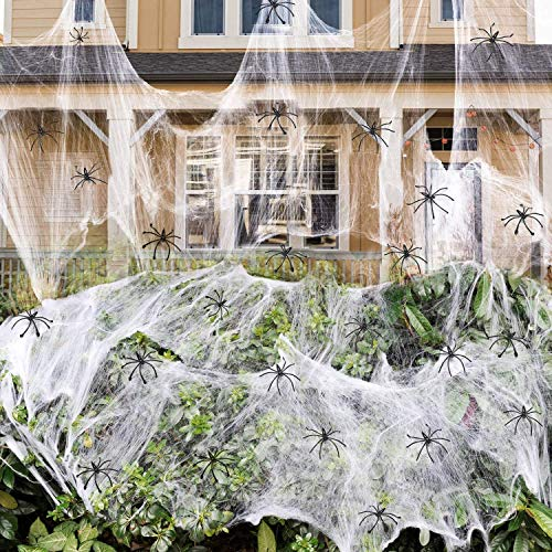 THE WHITE BULL TOTAL PROTECT ESTD 1986 Halloween Spinnennetz Party Deko Spinnweben Dekoration in Weiss inkl. 5 Horror Spinnen, über 15 Quadratmeter dehnbar
