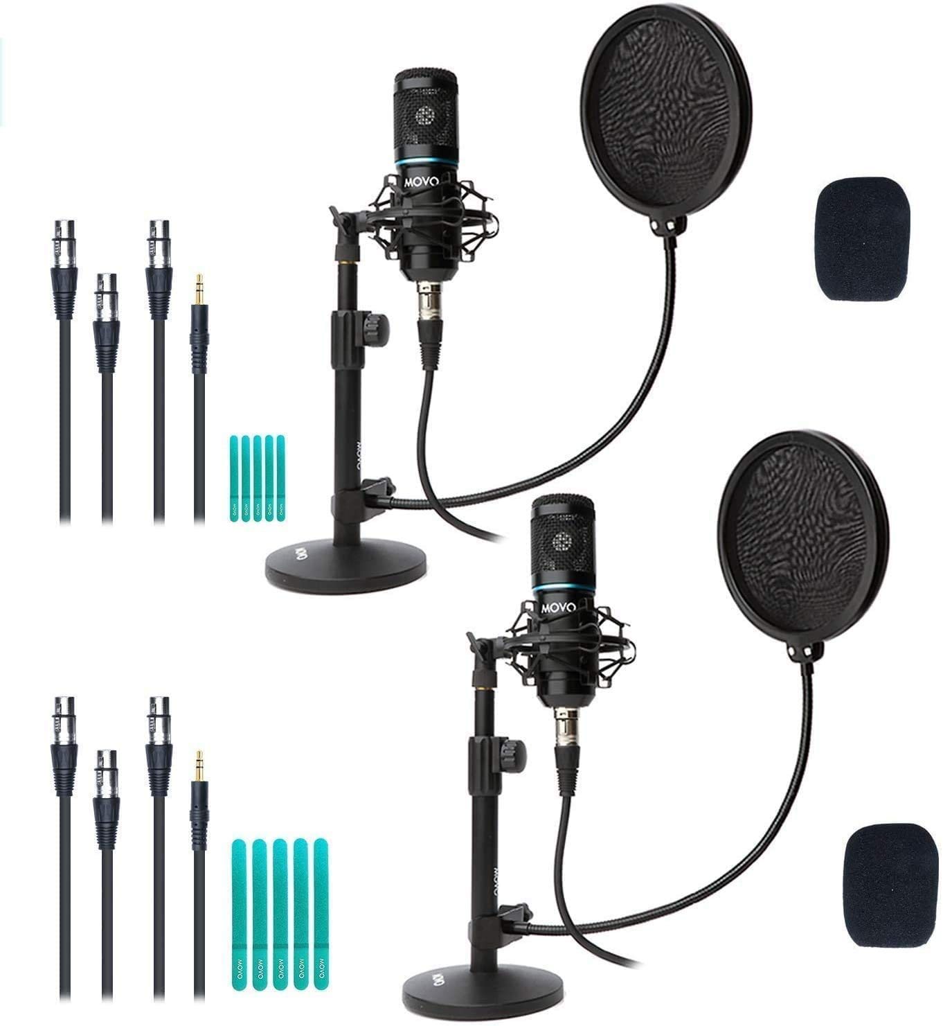 Bombing new work Movo 2-Pack Universal XLR Equipm Condenser Podcasting Indianapolis Mall Microphone