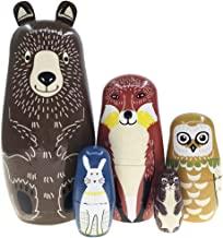 Arsdoll Cartoon Brown Bear Fox Owl Rabbit Raccoon Nesting Doll Wooden Matryoshka Russian Doll Handmade Stacking Toy Set 5 Pieces for Kids Girl Home Decoration