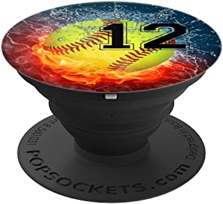 Cool Softball Fire and Ice Player #12 Gift Design Girls Team - PopSockets Grip and Stand for Phones and Tablets