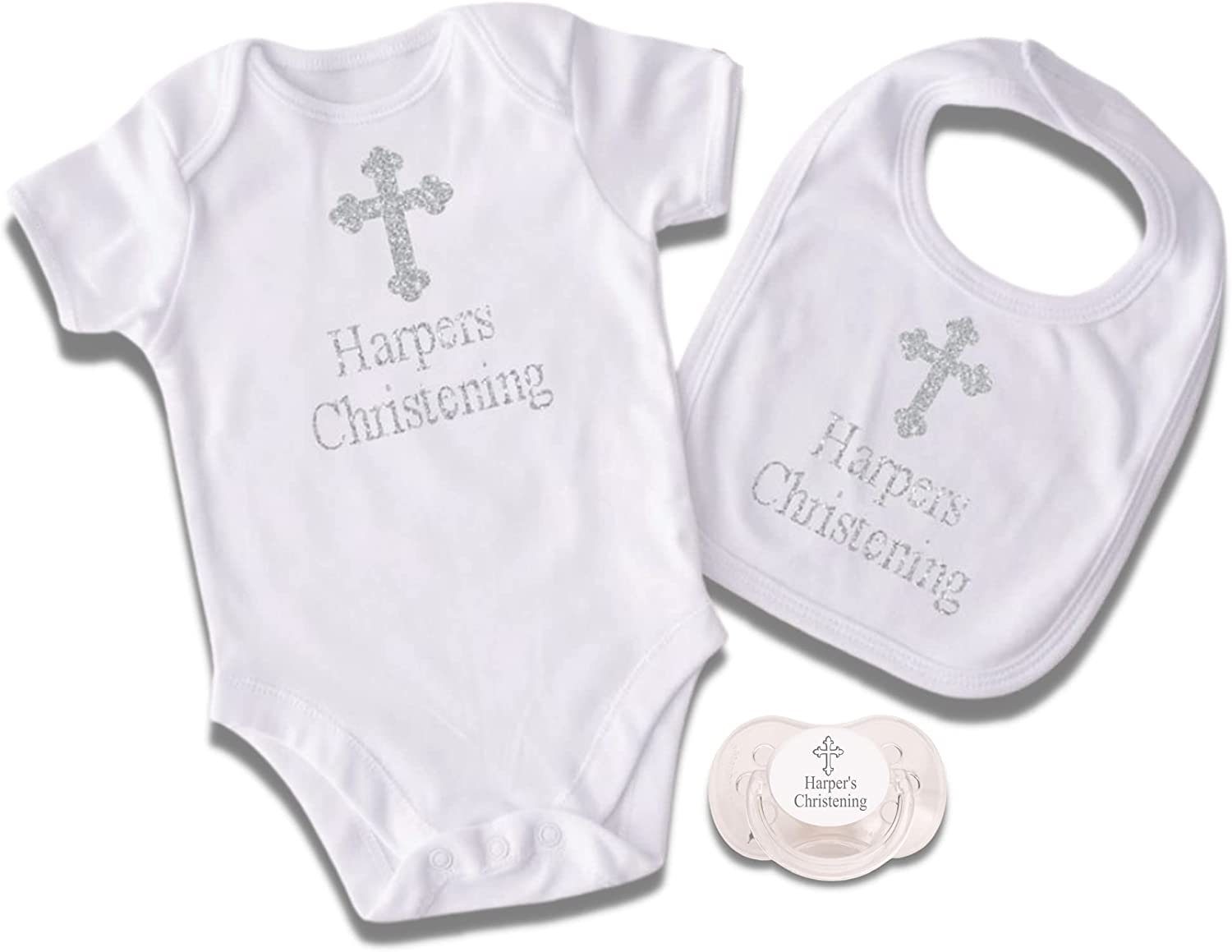 Personalized 3 Our shop most popular Piece Christening Baptism Sale special price Bib and Set Pacifier