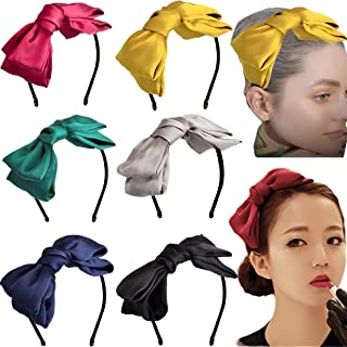 Girls 8 Big Bows Hairstyle Hair Hoops Headbands Hair Band for Girls Women Daily Wearing and Party Decoration Pack of 6 Colors