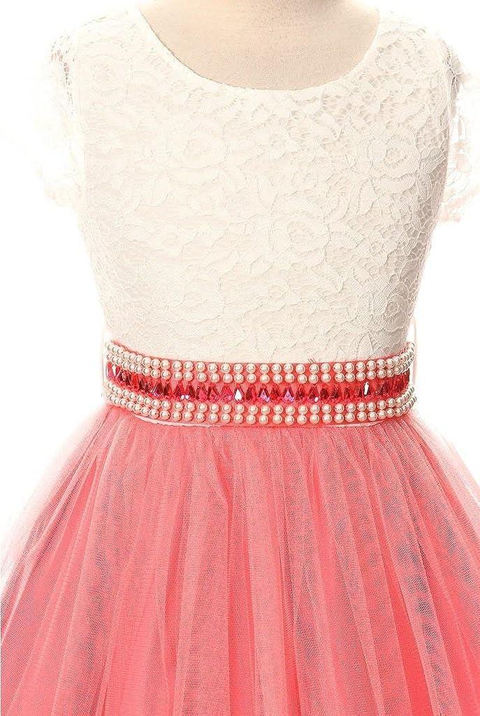 Cap Sleeve Lace Top Tulle Shiny Stone Belt Easter Graduation Flower Girl Dress
