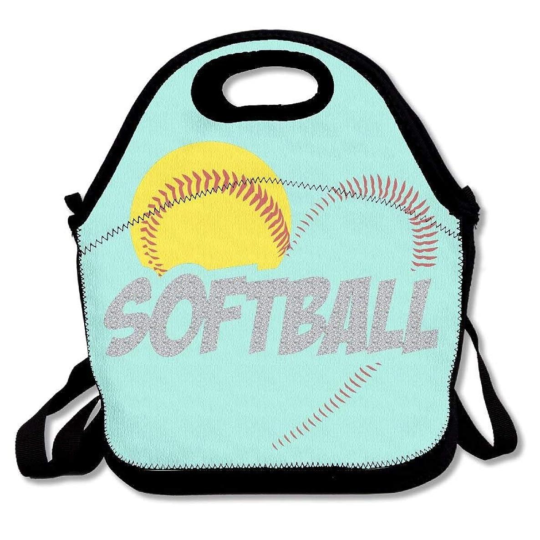 セラーノベルティ信頼できる愛ソフトボールランチバッグ絶縁トラベルピクニックランチボックストートハンドバッグ付きショルダーストラップ用女性十代の若者たち女の子子供大人