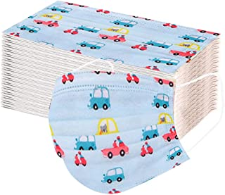 Luckylin Children 3-Ply Disposable Face Bandanas for Outdoor Activities, Outdoor Elastic Ear Loop Dustproof_Covering, Boys Disposable_Covering with Car Pattern, Skin-Friendly and Breathable