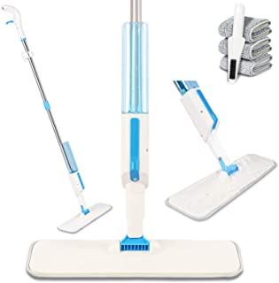 Bigzzia Spray Mop, 360 Degree Spin Microfibre Floor Mop with 350ML Refillable Bottle 3 Reusable Pads 1 Scraper and Mop Holder, Floor Cleaning Mop for Hardwood Marble Tile Laminate or Ceramic Floor