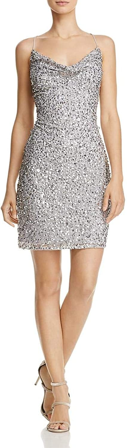 Adrianna Papell Womens Sequined Cowl Neck Cocktail Dress