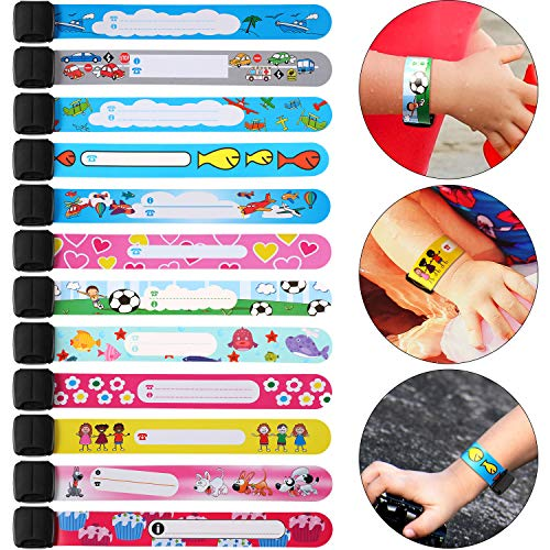 24 Pieces ID Safety Wristband Waterproof ID Bracelets Reusable Safety Bracelet for Outdoor Activity Supplies, 12 Styles
