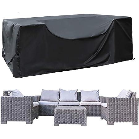 SIRUITON Funda de Muebles de Jardín Exterior Mesa de jardín y Silla Cubierta de Protección Impermeable Negro 250x250x90cm