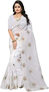 Indian Sarees for Women Designer Party Wear Traditional White Sari.