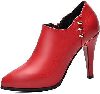HWF レディースシューズ スティレットのヒール女性の春のシングルシューズセクシーな浅い女性のレザーシューズ ( 色 : 赤 , サイズ さいず : 38 )