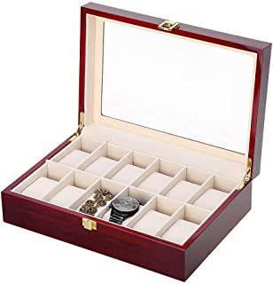 KMjungu Men's 6/12 Slots Glass Wooden Wrist Watch Box JewelryCase Organizer Velvet Display Rack Storage Case Tray Case Ho...