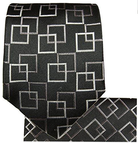Cravate homme noir á carreaux ensemble de cravate 3 Pièces (longueur 165cm)