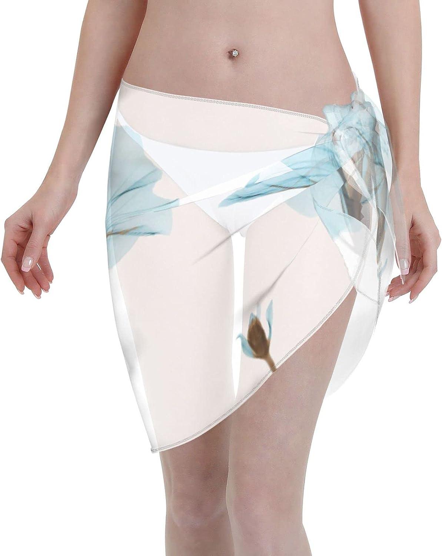 Reindeer Horn Women Short X-Ray Art Blue Morning Glory Sarongs Cover Ups Beach Chiffon Sarong Bikini Swimwear