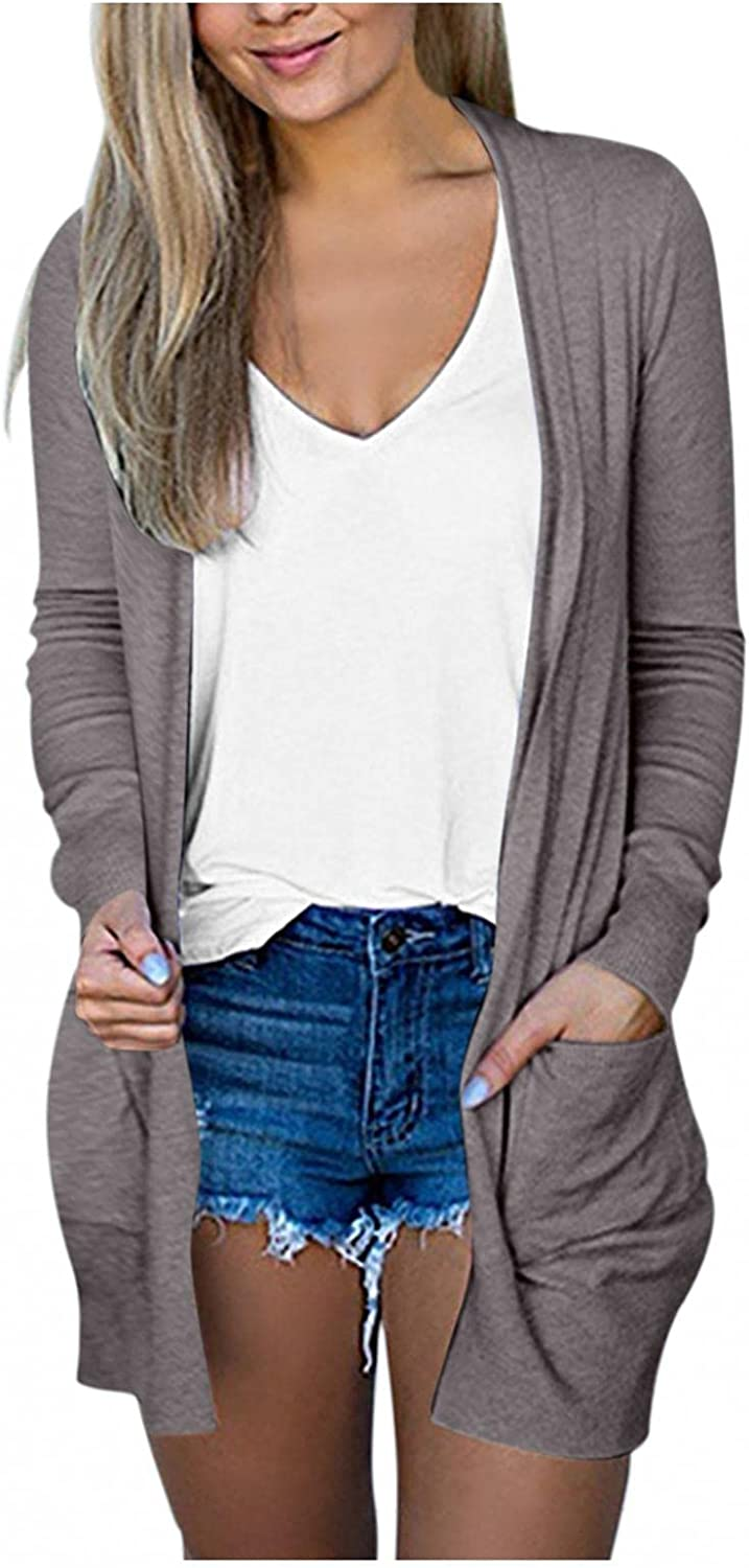 Fall Cardigans for Women Casual Long Sleeve Lightweight Solid Open Front Cardigan Sweaters Outerwear Coat White Pockets