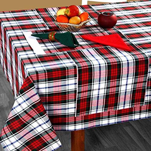 HOMESCAPES Nappe de Table rectangulaire à Carreaux écossais Vert et Rouge, 137 x 228 cm