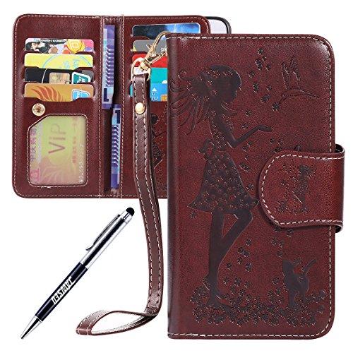 Kompatibel mit Galaxy S6 Edge Hülle Ledercase Handyhülle Hülle Tasche Wallet Bookstyle Flipcase Folio Handytasche Kartensätze Magnetisch Ständer Rückschale Handycover,Braun