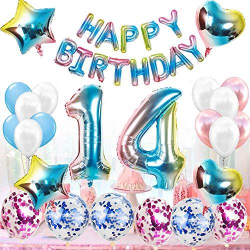 Kit de décoration pour 14e anniversaire pour femme, homme, arc-en-ciel, décoration d'anniversaire, 14 ans, ballons avec guirlande Happy Birthday pour les genres Reveal