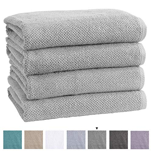 100% Cotton QuickDry Bath Towel Set 30 x 52 inches Highly Absorbent Textured Popcorn Weave Bath Towels Acacia Collection Set of 4 Light Grey