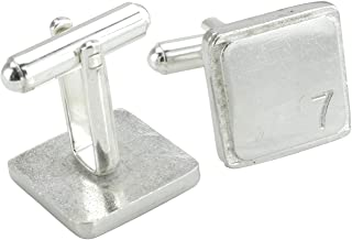 Square Cufflinks with '7' Engraved - 7th Anniversary