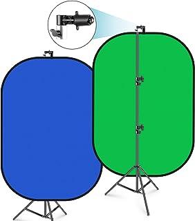 Neewer 150x200cmクロマキー ブルー/グリーン 折りたたみ式背景 サポートスタンドキット付き 2-in-1リバーシブル背景ポップアップパネル フォトスタジオビデオ撮影、生放送などに適用
