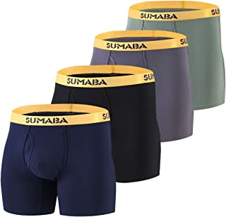 "SUMABA Mens 6"" Sport Performance Boxer Brief Big and Tall Bamboo No Ride up Underwear Long Leg Multi-Pack"