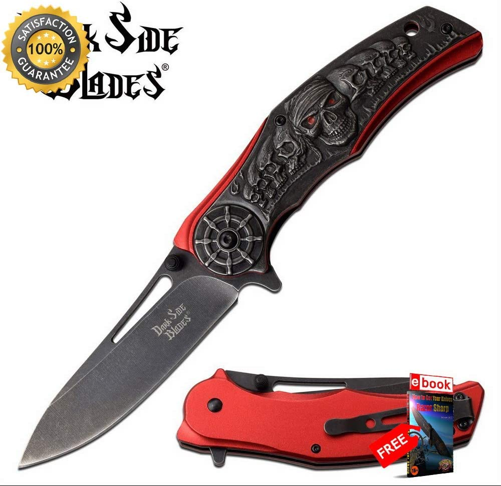 売り出し SPRING 早割クーポン ASSISTED Folding Sharp KNIFE Blade Buc Pirate 3.9'' Skull