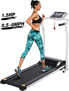 Tinfancy Folding Treadmills, Electric Foldable Treadmill with LCD Display, Heart Rate Sensor, Shock Absorption