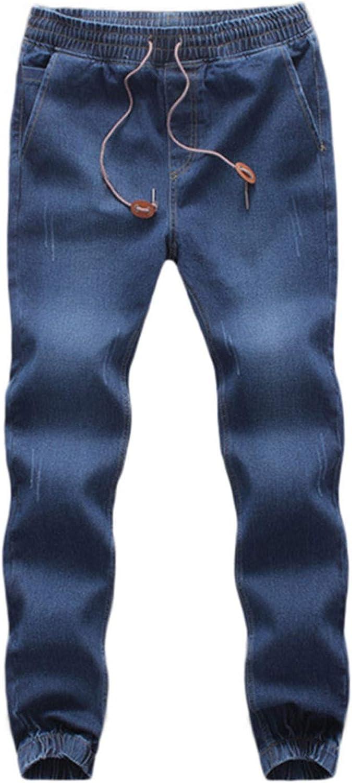 WUAI-Men Casual Joggers Jeans Elastic Waist Strench Drawstring Distressed Denim Jean Sweatpants Capris Plus Size