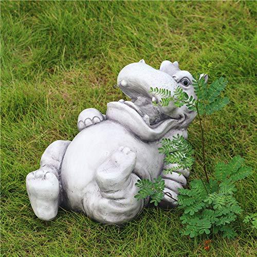 zenggp Resin Hippo Sculpture Garden Statues Animal Ornaments Pond Decoration Statue Yard/Lawn Decor, Birthday Gift