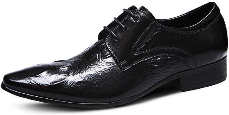 HAPPYSHOP(TM Crocodile Men's Derby shoes Lace-ups Winklepickers Pointed Toe Leather shoes Black